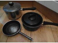 Stainless Steel 18/10 Farberware Sauce pans x2 + Lids & Frying pan x1