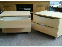 Two bedside table drawers