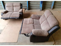 2+2 Seater Recliner Sofas - Brown.