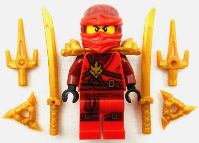 NEW LEGO NINJAGO KAI MINIFIG minifigure figure fire ninja red sai katana stars (Lego Kai Ninjago)