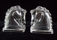 Vintage Clear Pressed Glass Horse Head Bookends Pair Mid-Century