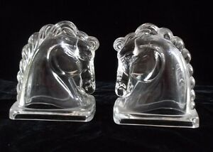 Vintage Clear Pressed Glass Horse Head Bookends Pair Mid-Century Kitchener / Waterloo Kitchener Area image 1