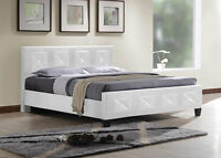 Black or White Bonded leather bed with diamonds