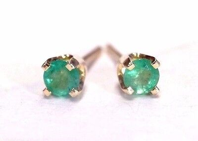 14K Yellow Gold .30 CTW Natural Round Colombian Emerald Stud Earrings | NEW