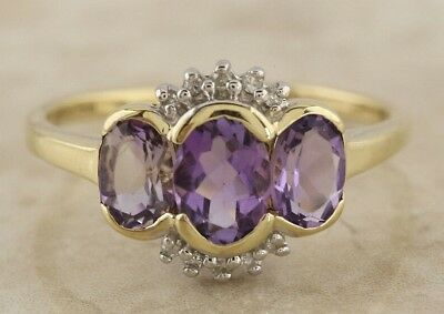 Secondhand 9ct Yellow Gold Oval Amethyst Multi Diamond ClusterRing Size Q