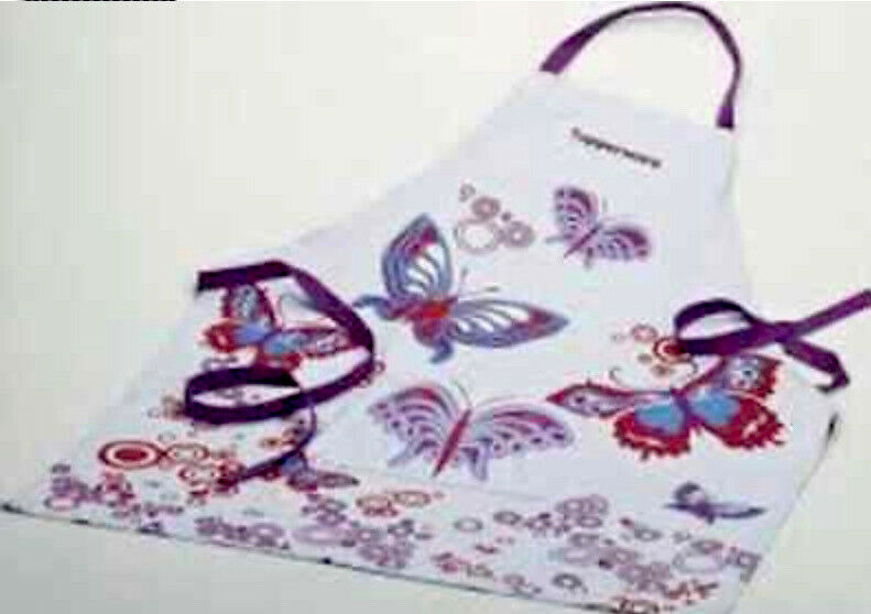 TUPPERWARE BUTTERFLY APRON ADJUSTABLE FRONT POCKET COTTON PRETTY PURPLE NEW