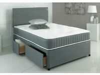 Grey faux suede divan bed set with headboard and mattress. Small double.