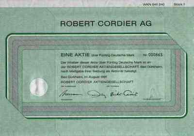 Robert Cordier 1991 Bad Dürkheim Salach Mühltal Darmstadt 50 DM Gewinnanteile