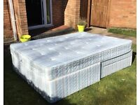 Top quality king size bed with 2 drawers and clean mattress in excellent condition