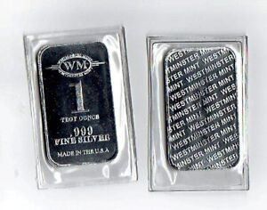 1-Troy-Oz-One-Silver-Bar-by-Westminster-Mint-999-Pure-Hallmark-Stamped