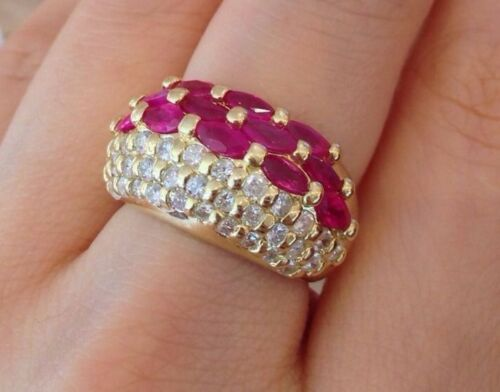Ruby & Diamond Band Ring With Marquise Rubies In 18k Yellow Gold - Hm1414sb