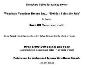 Wyndham Resorts Points for sale. Kona Hawaiian Resort