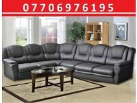 ☄️ 💥BLACK FAMILY 7 SEATER COVENTRY ECO LEATHER CORNER SOFA -FAST UK DELIVERY☄️ 💥