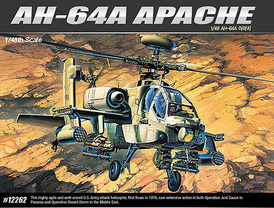 1/48 Academy 12262 AH-64A APACHE Helicopter Toy Plastic Model Kit