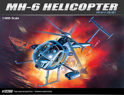 Academy 12260 MH-6 HELICOPTER 1/48 Plastic Model Kit Toy New