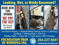 Foundation Pros of Winnipeg. No GST & Air miles event Book Now