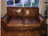 Beautiful brown antiquated leather 2 seater sofas excellent condition