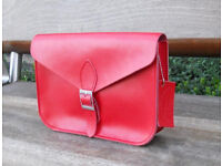 Oxford Satchel - Real Leather - Red - Vintage Shoulder Handbag Handmade in Cambridge UK