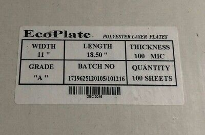 """Laser Plates 11/"""" x 18/"""" HP5000 HP5100 CTP 20000 Impressions Polyester Plates"""