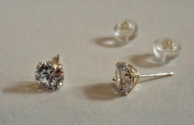 4861bd1cb ... 14K SOLID YELLOW GOLD STUD EARRINGS W/ .50 CT FLAWLESS DIAMONDS/ 5MM IN