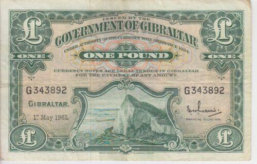 GIBRALTAR BANKNOTE  P18a-3892 1 POUND 1965 VERY FINE USA SELLER