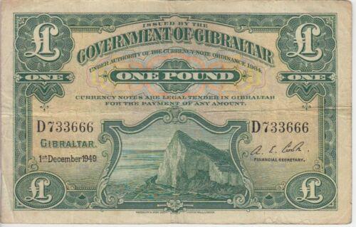 GIBRALTAR BANKNOTE  P16b-3666 1 POUND 1949 FINE PLUS USA SELLER