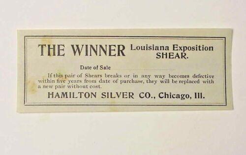 1904 Louisiana Exhibition - Warranty for The Winner Shear - Hamilton Silver Co.