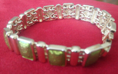 Vintage Monet Bracelet (gold tone with pistachio colour detail)