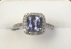 14K WHITE GOLD 1.9CT TANZANITE & DIAMOND RONG APPRAISED $2800