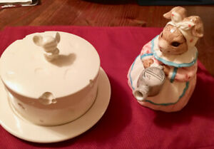 Mouse cheese Server & Bunny Teapot