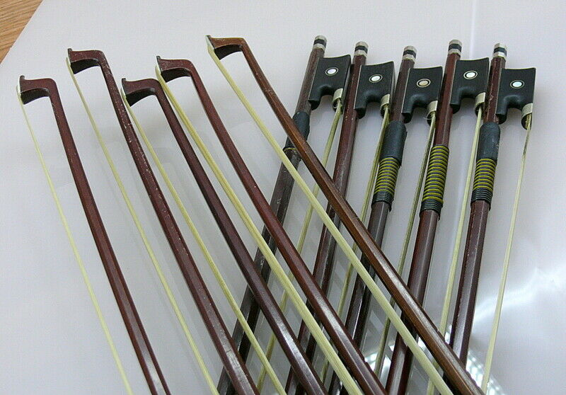 Violin bows.  4/4 full size violin bow. Lot of 10 used bows.