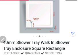 Walk in shower tray 900 x 900 40mm