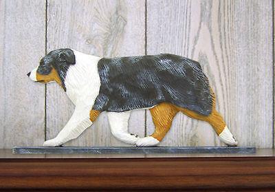 Australian Shepherd Dog Figurine Sign Plaque Display Wall Decoration Blue Merle