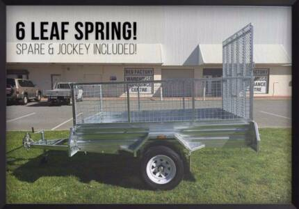 1600mm Ramp! Mower Bike Quad 8x5 Ramp Box Trailer with Mesh Cage