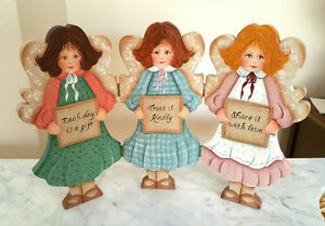 3 ANGELS Wood Table DISPLAY - Inspirational Saying -Hand Painted