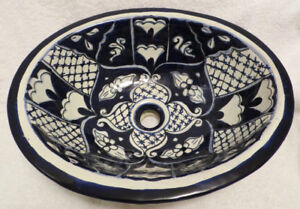 Hand Painted Blue & White bathroom Vanity sink - A beauty