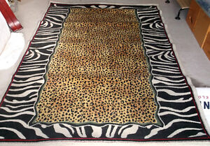 "Leopard and Zebra Pattern Area Rug Carpet 90"" by 62 1/2"""
