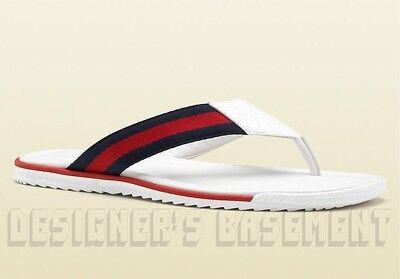 GUCCI mens 7.5G white Guccissima SL73 BEACH WEB Thong FLIP-FLOP sandals NIB Auth
