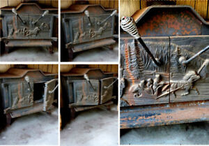 VINTAGE CAST IRON WOOD BURNING 2 DOOR FIREPLACE