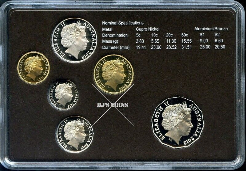 Australian 2013 Six Coin Proof Year Set - Special Editions Set - Selectively Gold Plated 20c Coin