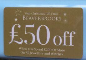 Beaverbrooks gift card Voucher £50 off