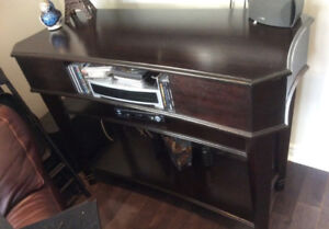 Brown wooden entertainment unit in perfect condition
