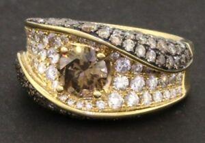 18k yellow gold 3.93ct fancy diamond wedding ring size 7.25