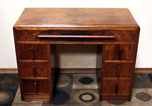 Original Gallaway Furniture Petite Burled Walnut Desk SEE VIDEO