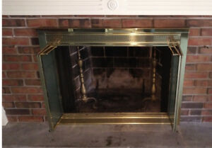 Wood Fireplace Glass Doors - Gold, Bi-Fold Doors, Vintage