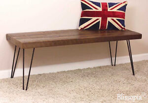 Hairpin and reclaimed wood bench