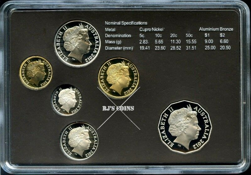 Australian 2012 Six Coin Proof Year Set - Special Editions Set - Selectively Gold Plated 50c Coin