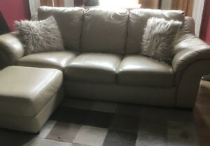 Used Italian leather sofa with chair and ottoman for sale