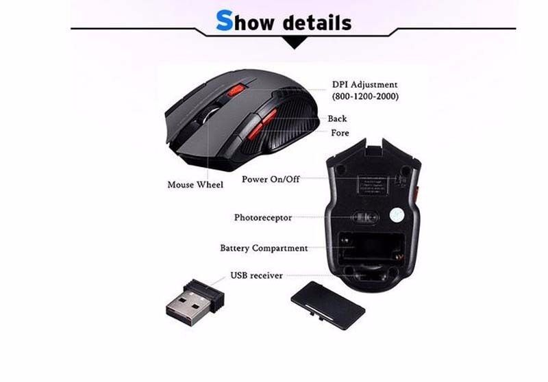 Black portable Wireless 6D 6 buttons Optical Gaming Mouse
