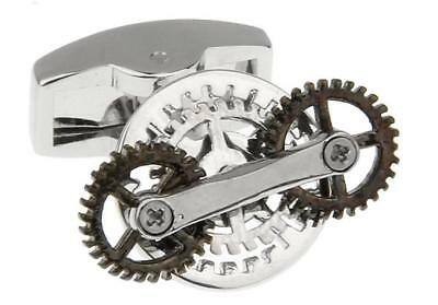 Steampunk Gears Spinning Pair Cufflinks Wedding Fancy Gift Box   Polishing Cloth